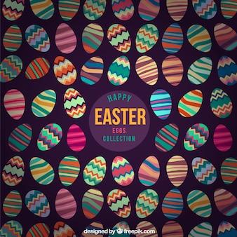 Easter eggs dark background Free Vector