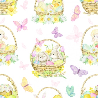 Easter eggs, different colors, on an isolated background. watercolor, seamless pattern