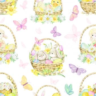 Пасхальные яйца, разные цвета, на изолированных фоне. акварель, бесшовный узор