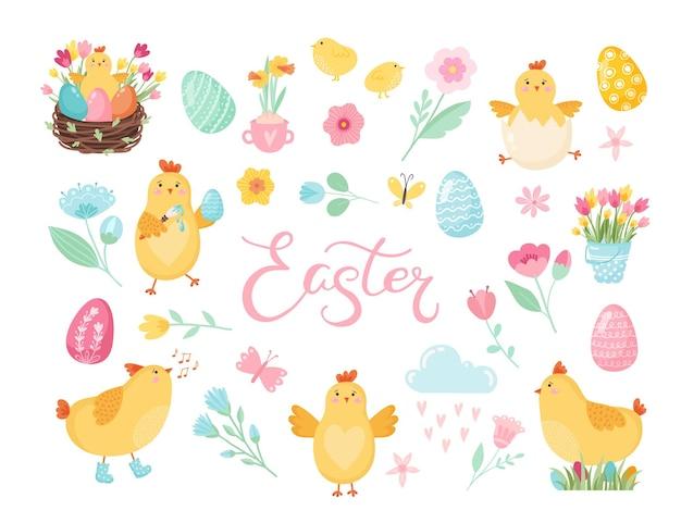 Пасхальные яйца для пасхальных праздников дизайн счастливой пасхи - векторные картинки для вашего дизайн-проекта Premium векторы