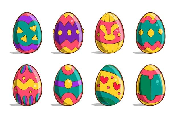 Raccolta disegnata a mano delle uova di pasqua