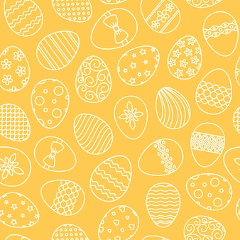 Easter eggs hand drawn thin line vector seamless pattern