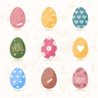 Пасхальные яйца в мультяшном плоском стиле с орнаментом