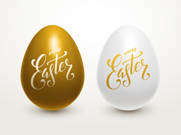 Easter eggs lettering with eggs and handwritten typography
