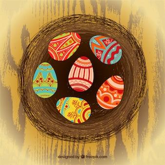 추상 둥지에 부활절 달걀