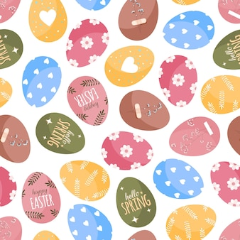 Easter eggs pattern in cartoon flat style on a white background