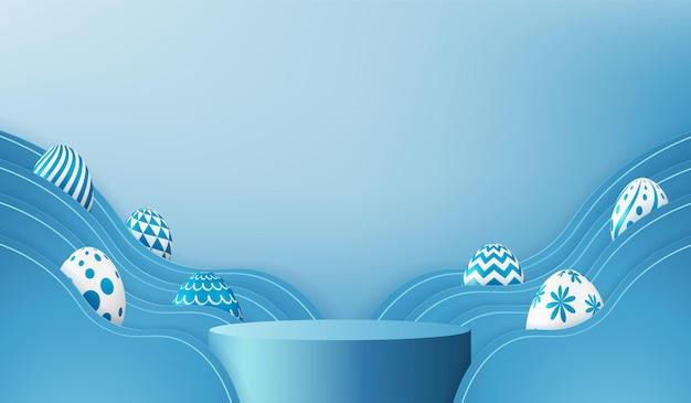 파란색 장면 배경에서 3d 렌더링 부활절 달걀 연단.