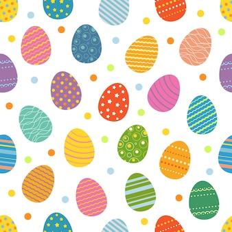 부활절 달걀 완벽 한 패턴입니다. 부활절 휴일 디자인 컨셉을 위한 부활절 달걀