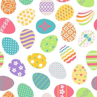 イースターエッグのシームレスパターン。ベクトル色とりどりの花柄のオスター