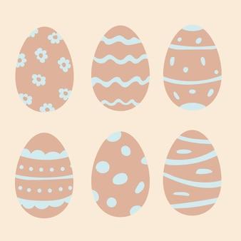Набор пасхальных яиц коллекция рисованной каракули для дизайна праздника пасхи