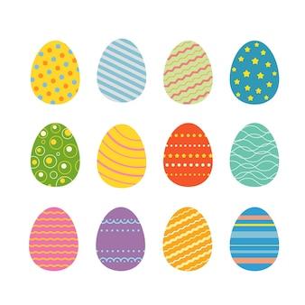 부활절 달걀 실루엣 벡터 일러스트 레이 션. 흰색 배경에 고립 된 부활절 휴일 디자인을위한 부활절 달걀
