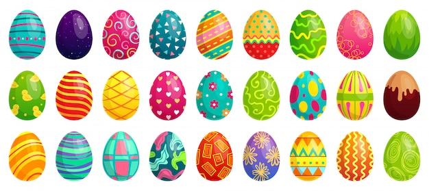 イースターエッグ、春のカラフルなチョコレートの卵、かわいい色のパターン、ハッピーイースター装飾漫画セット