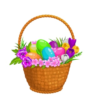 Easter eggs and spring flowers in wicker basket, isolate icon