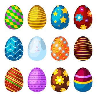 Пасхальные яйца весенний праздник векторные иконки.