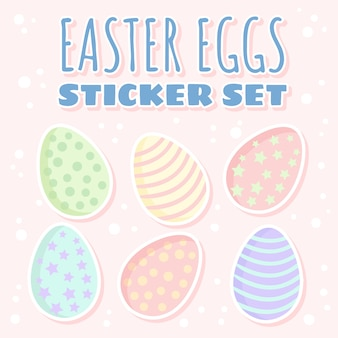 Easter eggs sticker set. collection of cute pastel colored eggs flat style illustration.
