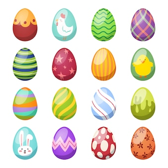 Easter eggs vector flat style icons