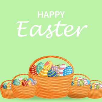 Easter eggs in a wicker nest on a green background