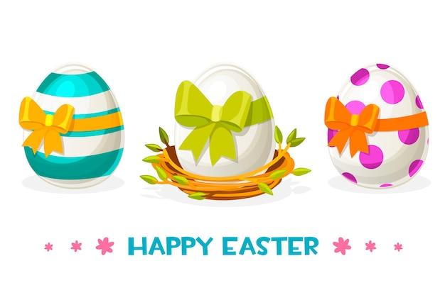 Пасхальные яйца с разными узорами в гнезде.