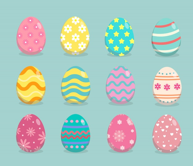 Easter eggs with different texture set on green
