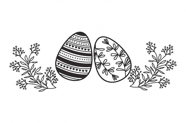 부활절 달걀 꽃과 잎 격리 된 아이콘