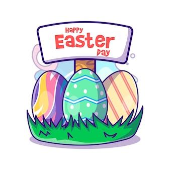 Пасхальные яйца с сообщением на пасху вектор значок иллюстрации