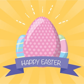 Easter eggs with ribbon greeting card