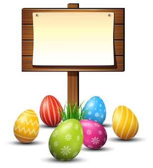 Easter eggs with wooden board