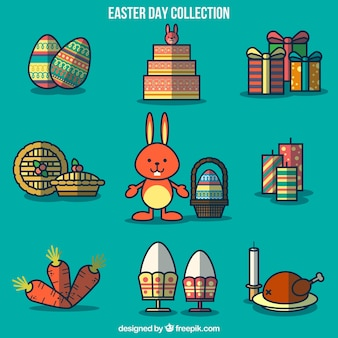 Easter elements collection in flat design