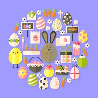 Пасха плоский набор иконок круглой формы с тенью. набор плоских стилизованных праздничных иконок
