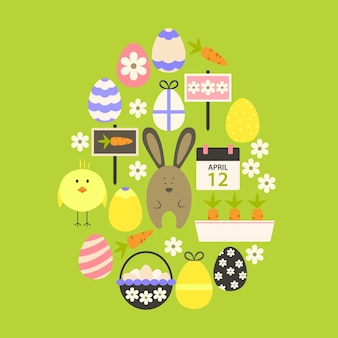 Easter flat icons set egg shaped over green. flat stylized holiday icons set egg shaped