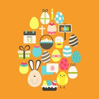 Easter flat icons set egg shaped over orange. flat stylized holiday icons set egg shaped