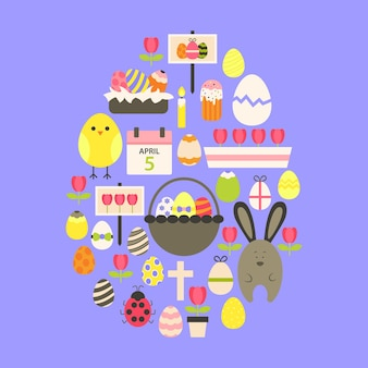 Easter flat icons set egg shaped over purple. flat stylized holiday icons set egg shaped