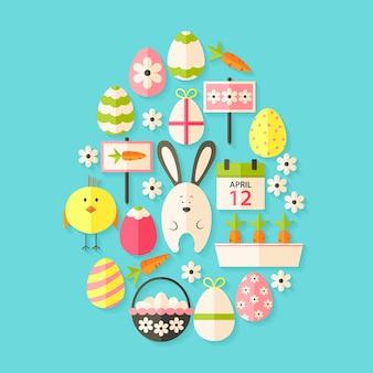 Easter flat icons set egg shaped with shadow over blue. flat stylized holiday icons set