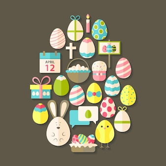 Easter flat icons set egg shaped with shadow over brown. flat stylized holiday icons set