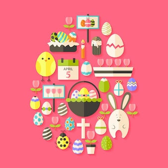 Easter flat icons set egg shaped with shadow over dark pink. flat stylized holiday icons set