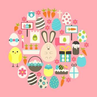 Пасха плоские иконки набор над розовым. набор плоских стилизованных праздничных иконок круглой формы