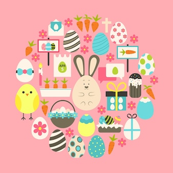 Easter flat icons set over pink. flat stylized holiday icons set circular shaped