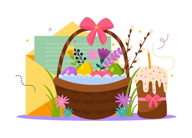 Illustrazione piatta di pasqua con uova colorate, fiori e candele