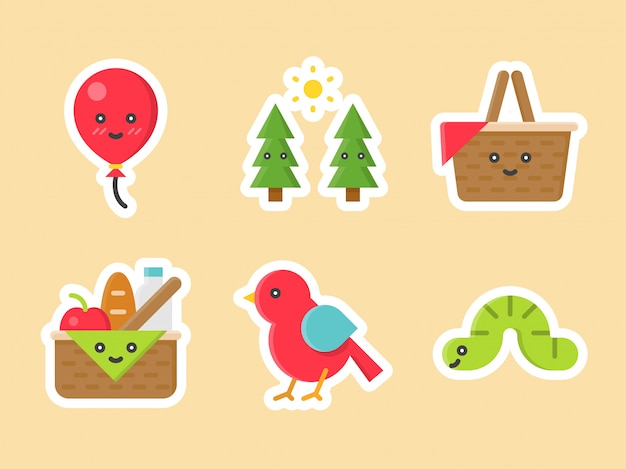 Easter flat sticker icon set