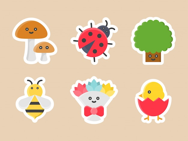 Easter flat sticker icon set