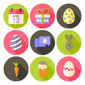 Easter flat styled circle icon set 5 with long shadow. flat stylized circle vector colorful illustrations
