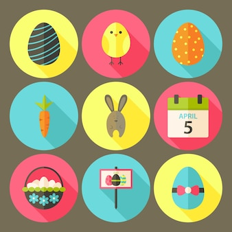 Easter flat styled circle icon set 6 with long shadow. flat stylized circle vector colorful illustrations