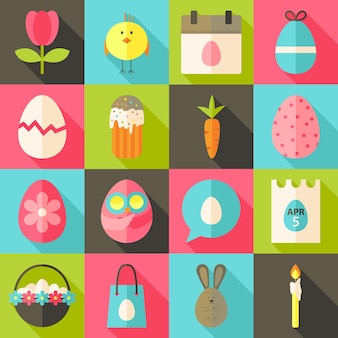 Easter flat styled icon set 2 with long shadow. flat stylized icons set with long shadow