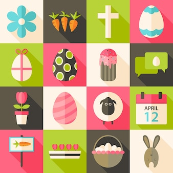 Easter flat styled icon set 3 with long shadow. flat stylized icons set with long shadow