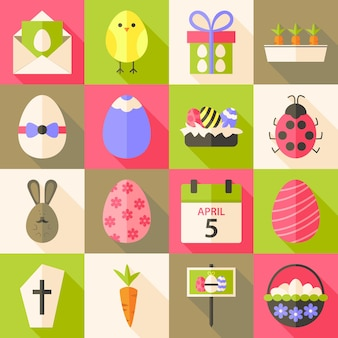 Easter flat styled icon set 4 with long shadow. flat stylized icons set with long shadow