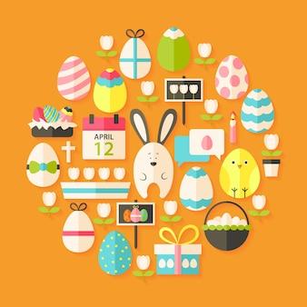 Easter flat stylized icons set circular shaped with shadow. flat stylized holiday icons set