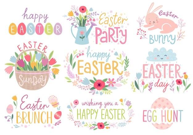 부활절 꽃 글자 꽃 토끼 튤립 계란 및 기타 요소로 설정