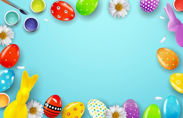 3d 현실 부활절 달걀과 토끼와 부활절 프레임 템플릿