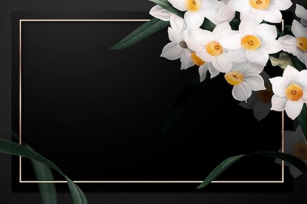 Cornice pasquale con bordo narciso su sfondo nero Vettore gratuito