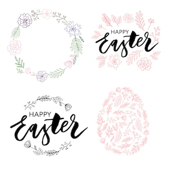 Easter frame with easter eggs hand drawn black on white background.